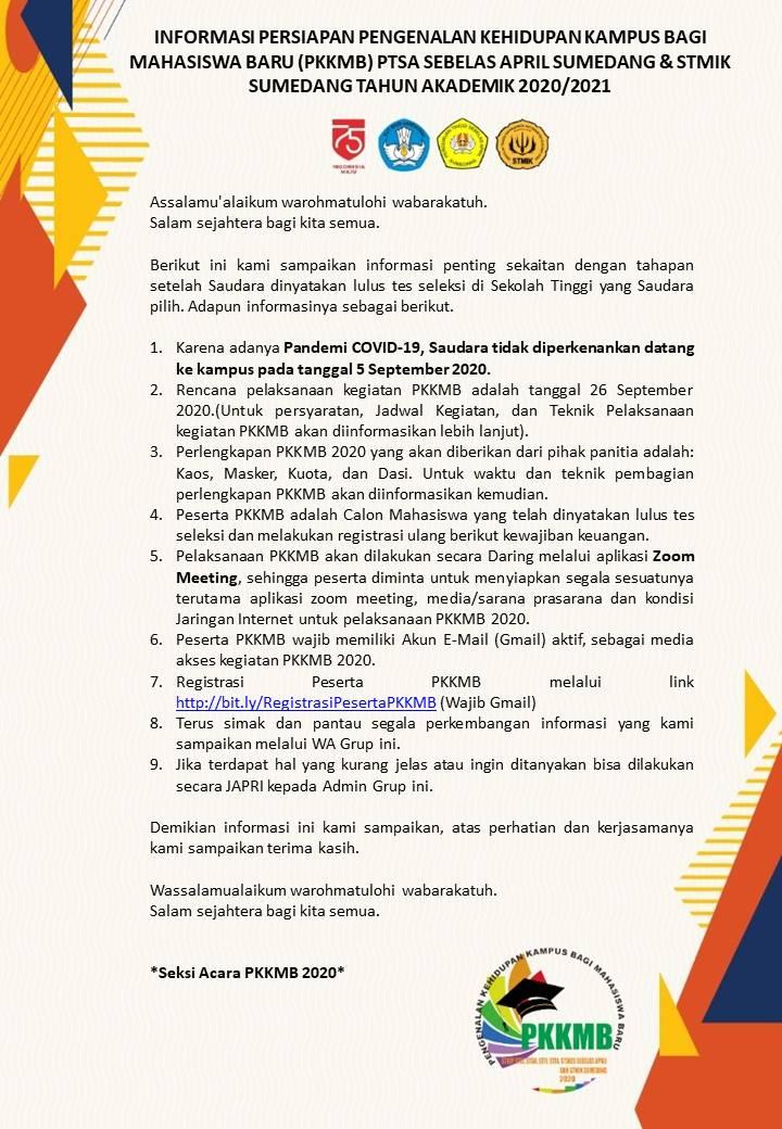 Informasi Persiapan Pengenalan Kehidupan Kampus Bagi Mahasiswa Baru PTSA Sebelas April Sumedang dan STMIK Sumedang Tahun Akademik 2020/2021